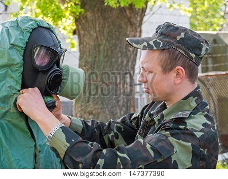 Dnepropetrovsk Ukraine - November 18 2013: Chemical defence instructor Ukrainian army