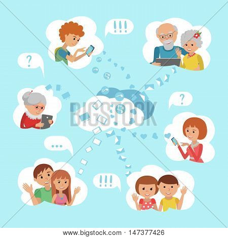 Flat style vector illustration family online social media communication cloud service concept.Man woman with tablet phone laptop. Content and humans connected via chat share like e-mail.