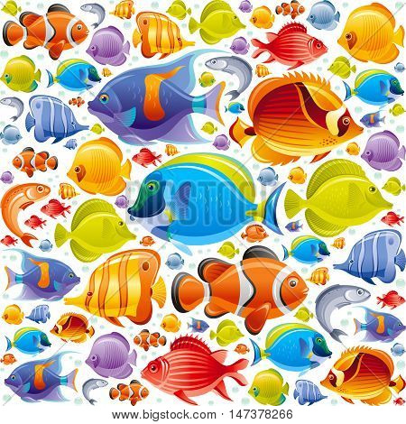 Seamless Sea travel icon set, underwater diving animal - tropical fish. Vector illustration abstract templte. Elegant modern style, white background. Angel, butterfly and more marine fishes icons