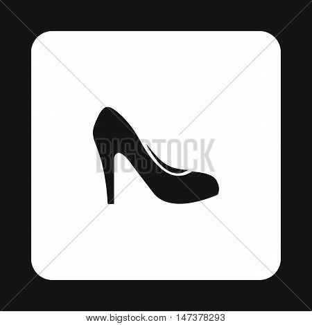 Womens shoe with heels icon in simple style isolated on white background. Wear symbol vector illustration