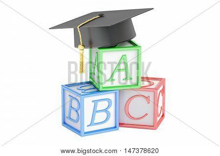 education concept abc cubes with graduation cap. 3D rendering