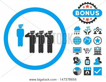 Army Squad icon with bonus pictogram. Vector illustration style is flat iconic bicolor symbols, blue and gray colors, white background.
