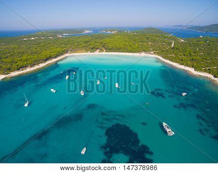 Aerial view of Sakarun bay on the island of Dugi Otok in Croatia
