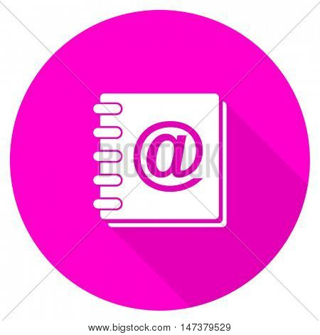 address book flat pink icon