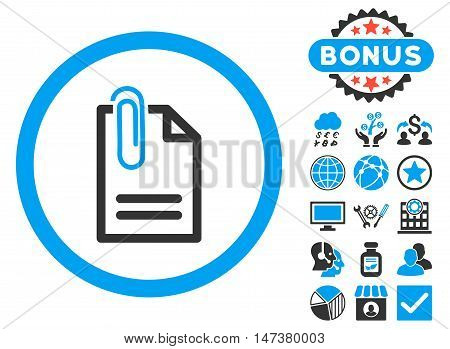 Attach Document icon with bonus design elements. Vector illustration style is flat iconic bicolor symbols, blue and gray colors, white background.