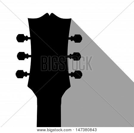 A traditional guitar headstock with dark shadow
