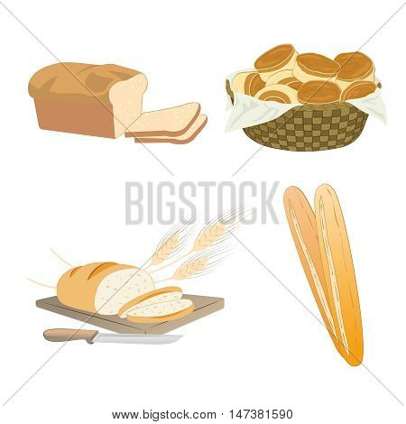 Set of cartoon food bread - wheat whole grain buns in basket sliced french baguette Vector illustration isolated on white.