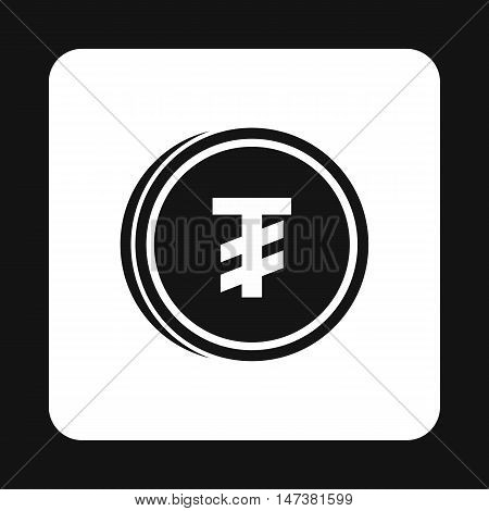 Tugrik coin icon in simple style isolated on white background. Monetary currency symbol vector illustration