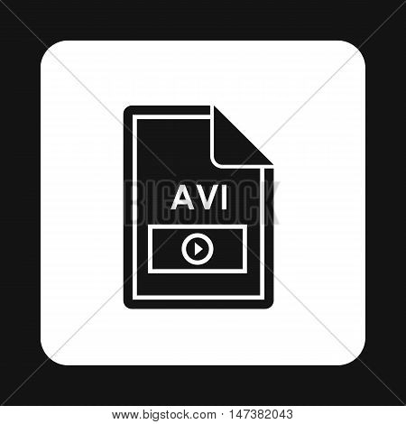 File AVI icon in simple style isolated on white background. Document type symbol vector illustration