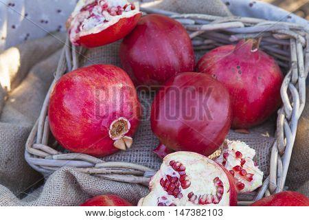 Closeup On Pomegranates