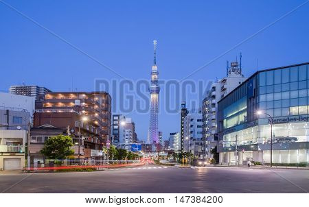 TOKYO,JAPAN - SEP 12 ,2015 : The Tokyo Skytree is a new television broadcasting tower and landmark of Tokyo. It is the centerpiece of the Tokyo Skytree Town in the Sumida City Ward.
