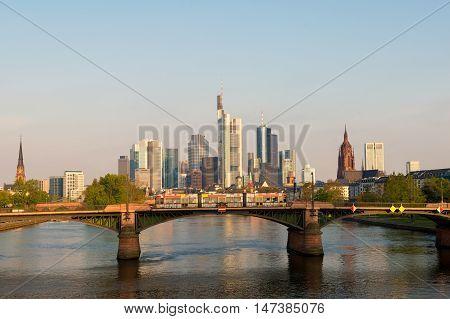 Tram with Frankfurt am Main skyline at morning in Frankfurt Germany.
