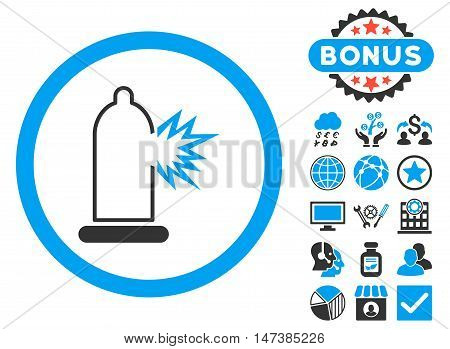 Condom Damage icon with bonus elements. Vector illustration style is flat iconic bicolor symbols, blue and gray colors, white background. poster