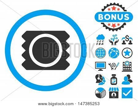 Condom icon with bonus elements. Vector illustration style is flat iconic bicolor symbols, blue and gray colors, white background.