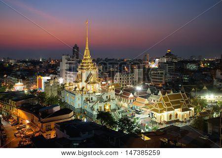 Wat Traimit at Yaowarat district in Bangkok Thailand. China town in Bangkok Thailand.