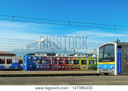 FUJIKAWAGUCHIKO JAPAN - MAY 18 2015 : The special local japan train displayed in front of Kawaguchiko Station. The station is famous for scenery of Mt. Fuji in japan
