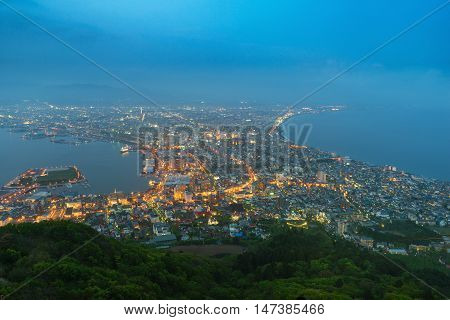 Hakodate City view from Mountain Hakodate in night Hokkaido Japan
