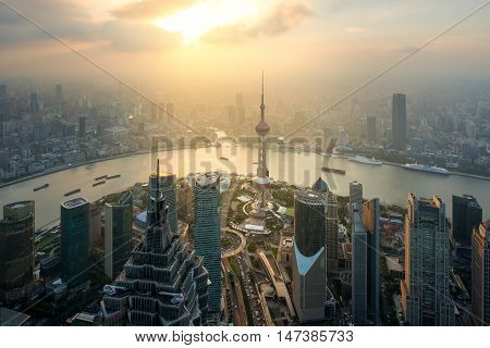 Aerial view of shanghai shanghai lujiazui finance and business district trade zone skyline Shanghai China