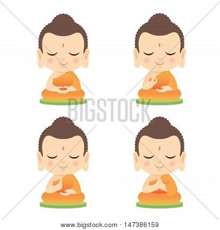 Set of Buddha with different hand gesture. Cute Buddha cartoon vector illustration isolated on white background.