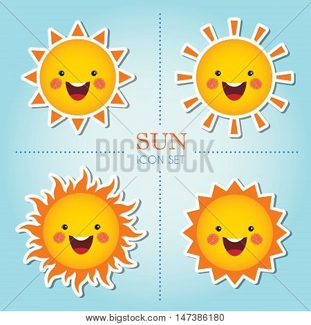 Set of cute smiling sun cartoon character in different shapes / Sun icon set / Summer vector illustration.