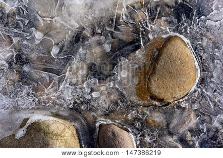 Frozen Stream Abstract with Rocks and Ice