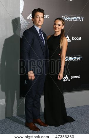 NEW YORK-MAR 16: Actors Miles Teller (L) and Keleigh Spery attend the U.S. premiere of