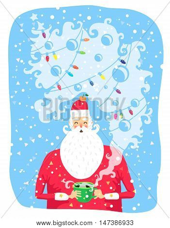 Portrait of Santa Claus with a cup of coffee. Vector illustration on a blue background. Great holiday gift card for Christmas and New Year.