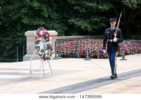 ARLINGTON,USA - AUGUST 15,2016 : Ceremonial guard at the Tomb of the Unknown Soldier at Arlington National Cemetery