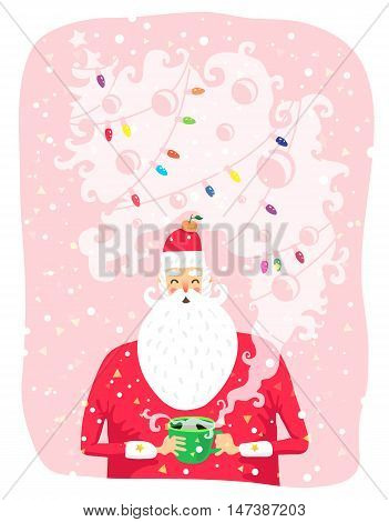 Portrait of Santa Claus with a cup of coffee. Vector illustration on a pink background. Great holiday gift card for Christmas and New Year.