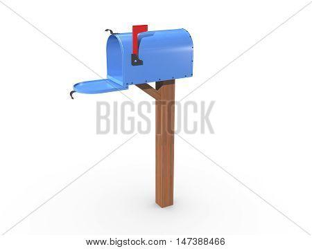 3D Rendering Of A Blue Mailbox Open