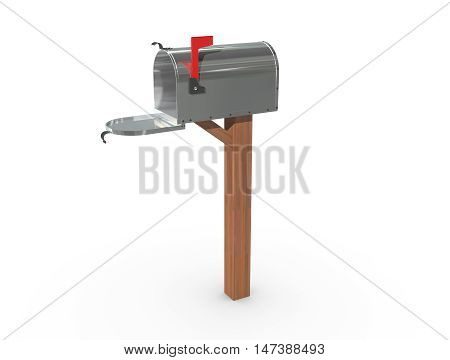 3D Rendering Of A Mailbox In Chrome Open