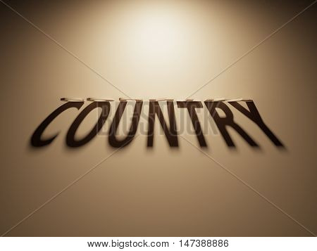 3D Rendering Of A Shadow Text That Reads Country