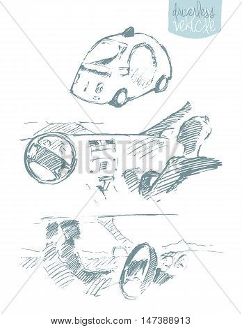 Set of illustrations of self-driving intelligent controlled driverless car, hand drawn, sketch