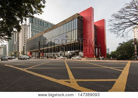 Sao Paulo, Brazil - June 25, 2016: Museum of Art of Sao Paulo (MASP) is the famous spot in Paulista Avenue and is one of the landmarks of the city.