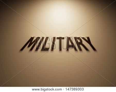 A 3D Rendering of the Shadow of an upside down text that reads Military.