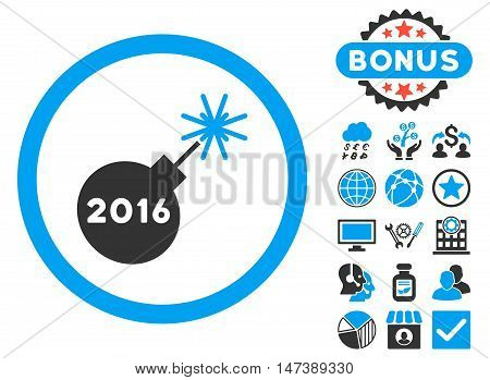 2016 Petard icon with bonus. Glyph illustration style is flat iconic bicolor symbols, blue and gray colors, white background.