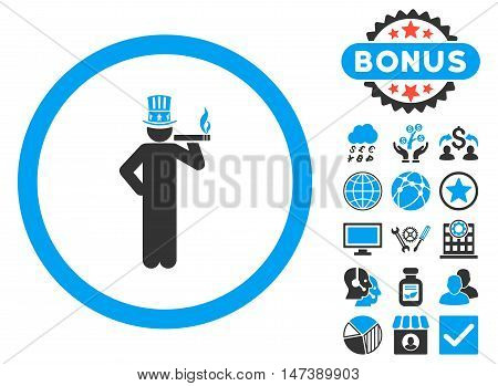 American Capitalist icon with bonus symbols. Glyph illustration style is flat iconic bicolor symbols, blue and gray colors, white background.