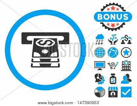 Bank Cashpoint icon with bonus design elements. Glyph illustration style is flat iconic bicolor symbols, blue and gray colors, white background.