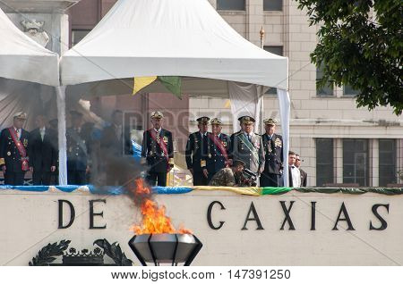 Rio de Janeiro, Brazil - September 7, 2016: Important Brazilian military authorities and politicians watch the Independence Day parade in the city center.