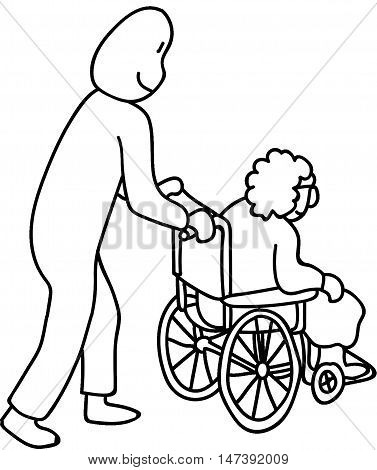 Pushing Granny in a wheel chair helping Granny get around