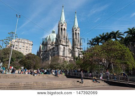 Sao Paulo, Brazil - June 26, 2016: Metropolitan Se Cathedral in the city center. It was finished in 1913 in neo-gothic style.