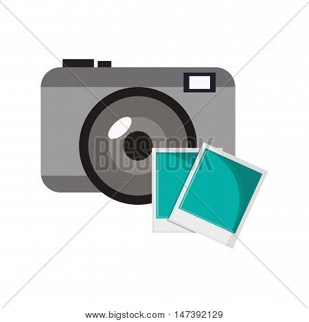 flat design photographic camera and  instant photograph icon vector illustration
