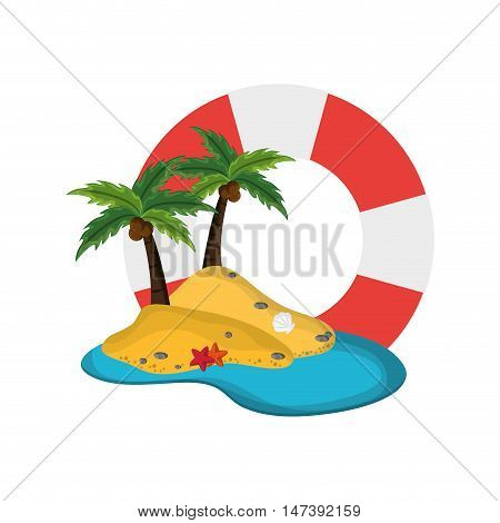 flat design life preserver and tropical island icon vector illustration
