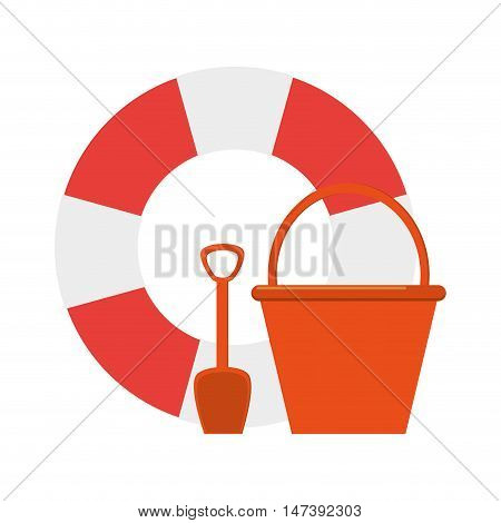 flat design life preserver and bucket with shovel  icon vector illustration