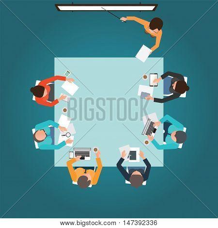 Top view of Business presentation teamwork brainstorming office business people cartoon flat design conceptual vector illustration.