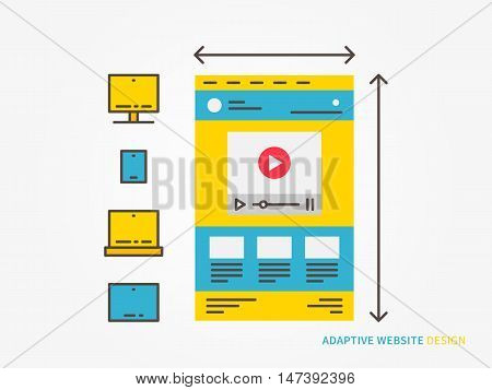 Responsive web design vector illustration. Adaptive scalable website webpage technology creative concept. Responsive web interface ui ux for different devices graphic design.