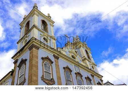 Top Church facade of Our Lady of the Black Rosary in Pelourinho in Salvador. He had the start of works in 1704 and holds an attached cemetery of slaves.