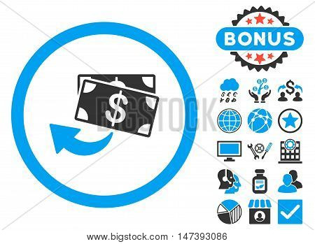 Cashback icon with bonus images. Glyph illustration style is flat iconic bicolor symbols, blue and gray colors, white background.