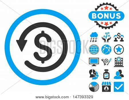 Chargeback icon with bonus pictures. Glyph illustration style is flat iconic bicolor symbols, blue and gray colors, white background.