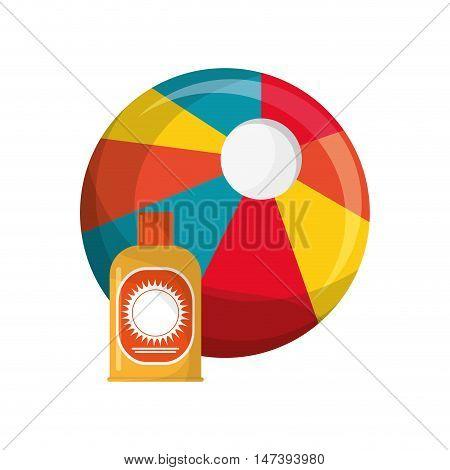 flat design beach ball and sun block icon vector illustration